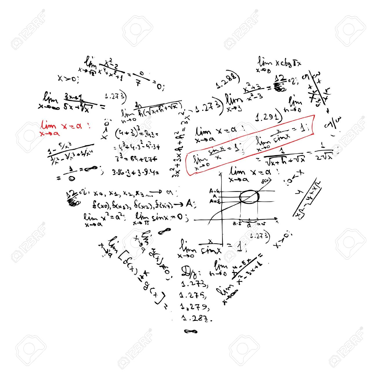 heart shape with math formulas for your design stock vector 9579797