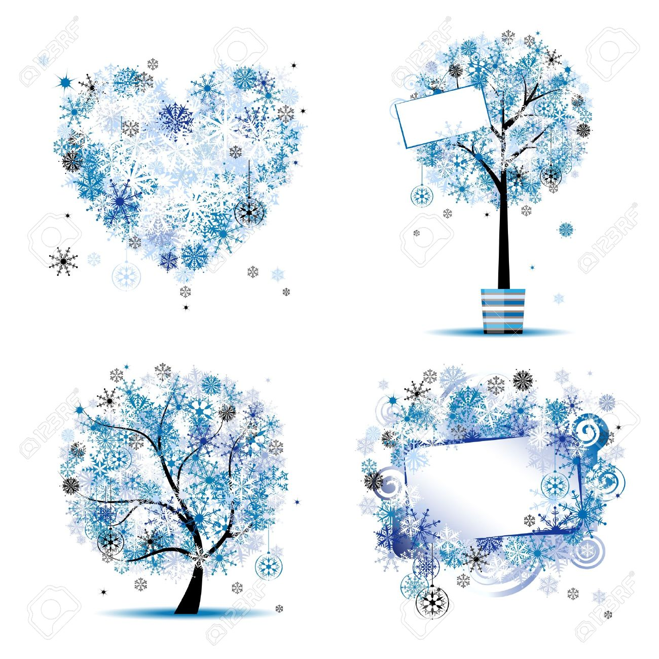 Winter Style - Tree, Frames, Heart For Your Design Royalty Free ...