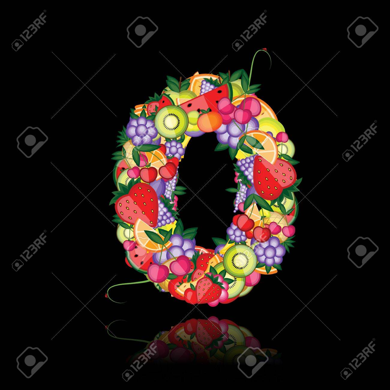 Number zero made from fruits. See others in my gallery Stock Vector - 10286435