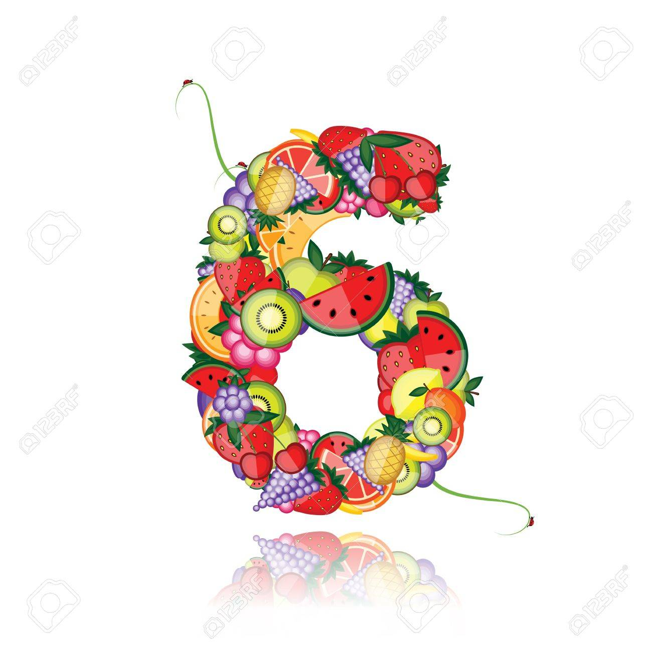 Number six made from fruits. See others in my gallery Stock Vector - 10286440
