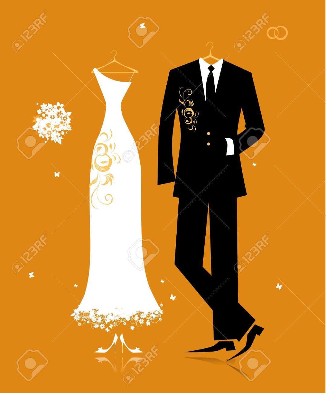 Boda traje de novio y el vestido de novia para su diseño Foto de archivo - 8f977f9d459