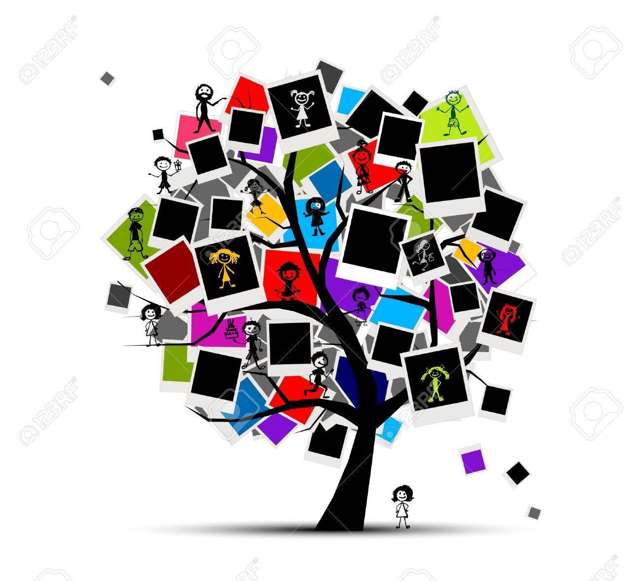 Erinnerungen Baum Mit Bilderrahmen Für Ihr Design, Legen Sie Ihr ...