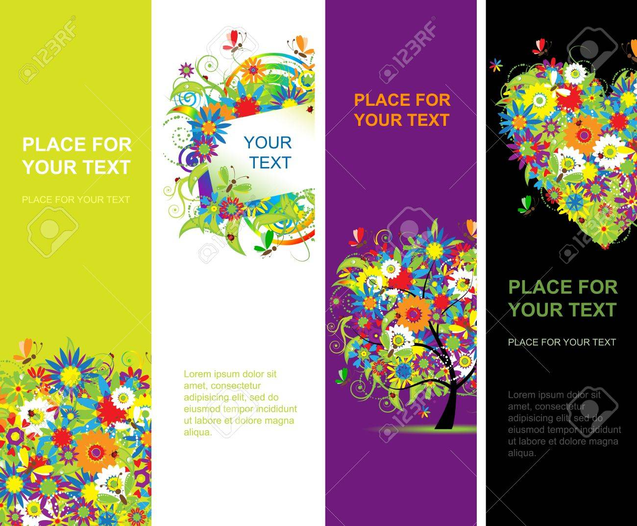 Summer floral banners vertical for your design Stock Vector - 10296983