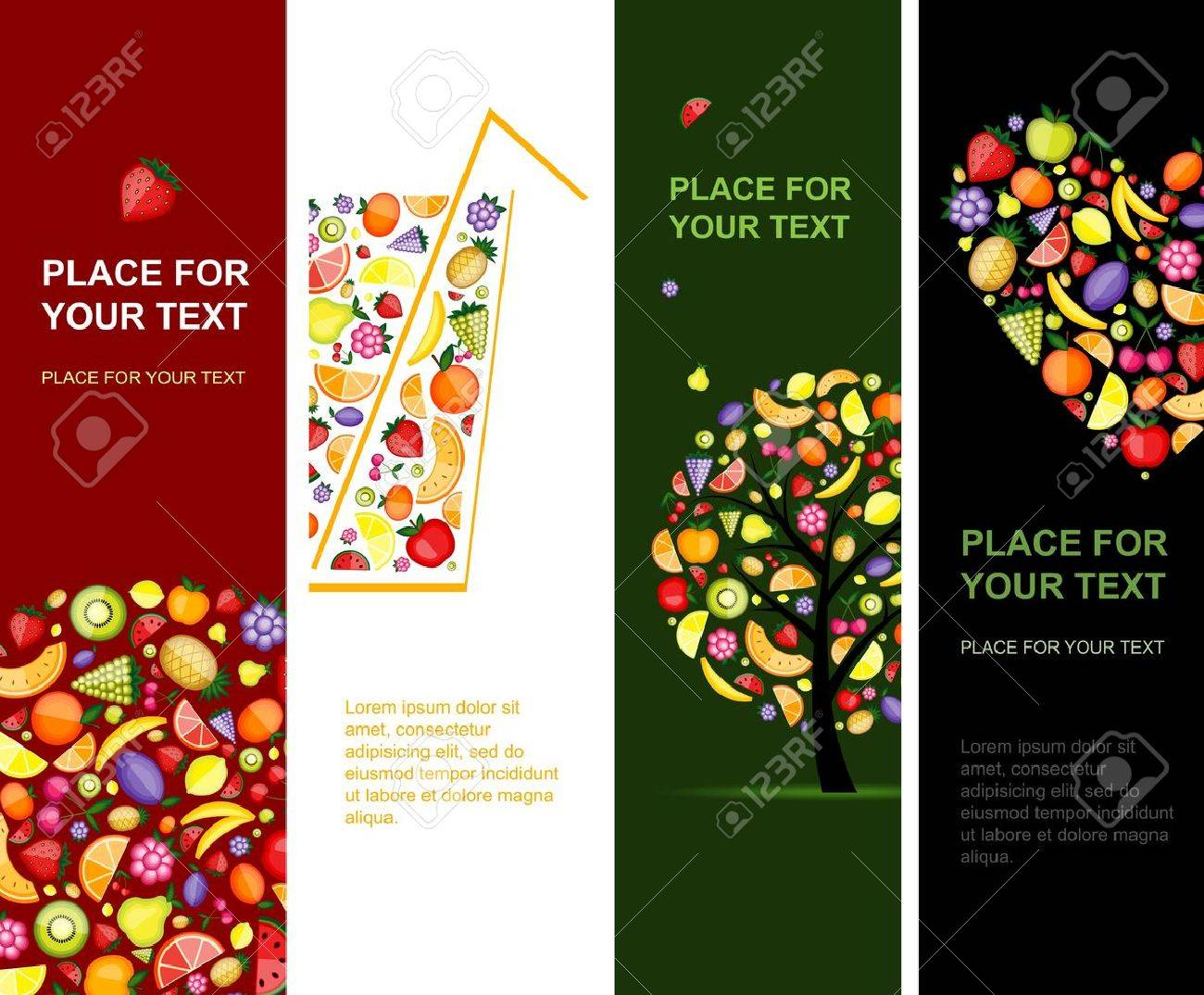 Fruits banners vertical for your design Stock Vector - 10296985