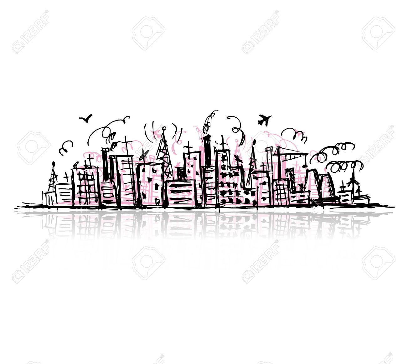 Industrial cityscape, sketch drawing for your design Stock Vector - 10724033