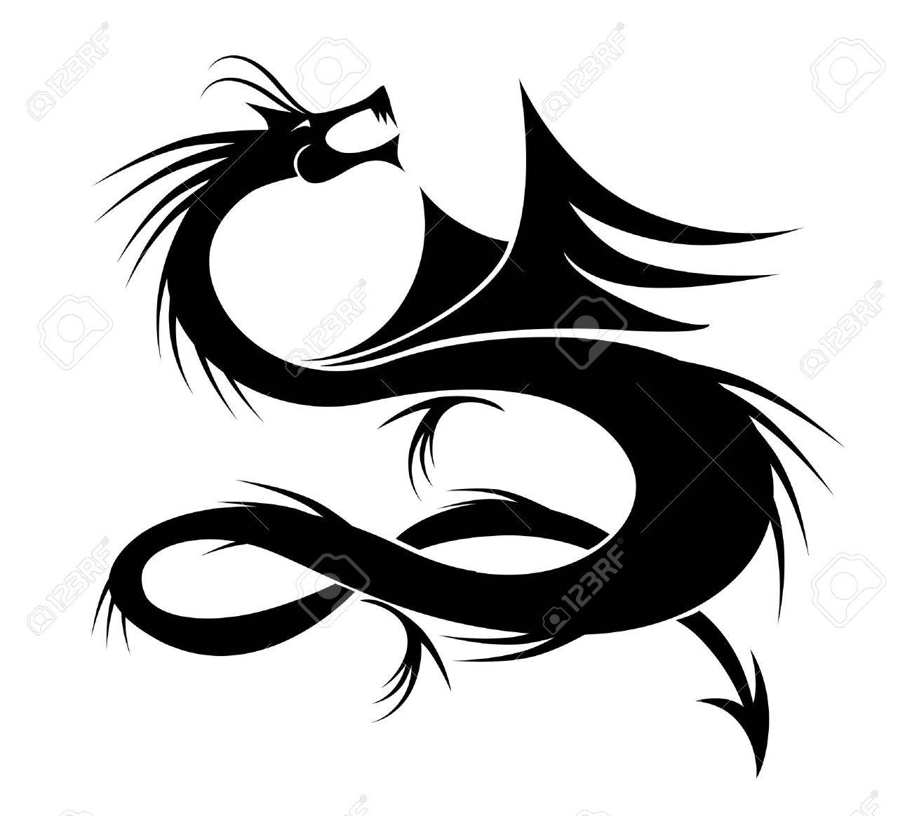 Dragon tattoo vector illustration for your design Stock Vector - 10723947