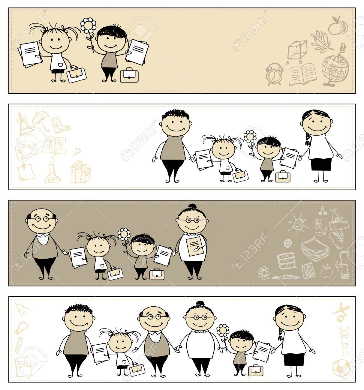 Back to school, children with parents, banners for your design Stock Vector - 10724000