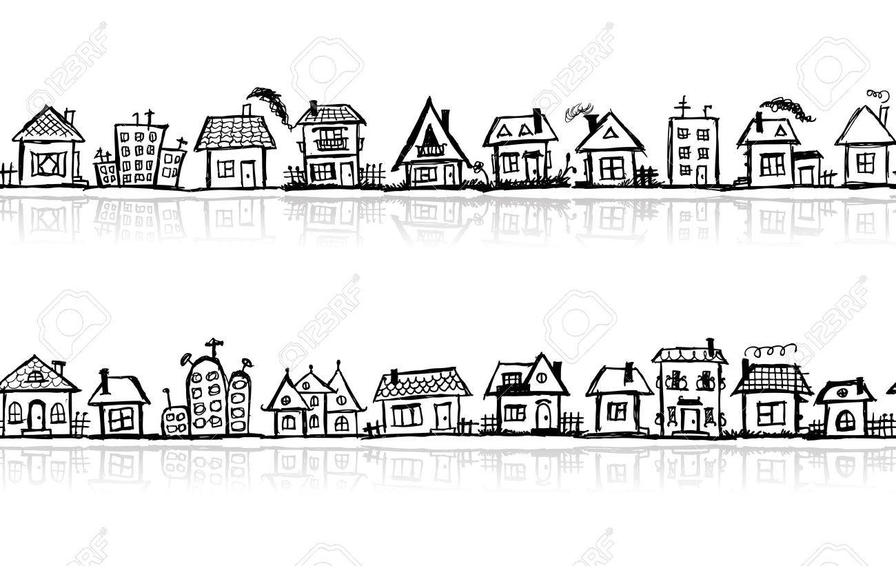 Cityscape sketch, seamless wallpaper for your design Stock Vector - 10724016