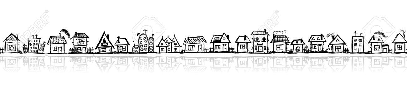 Cityscape sketch, seamless wallpaper for your design Stock Vector - 10724007