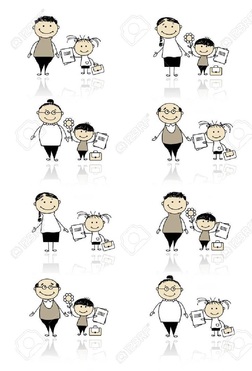 Back to school, children with parents Stock Vector - 10724036