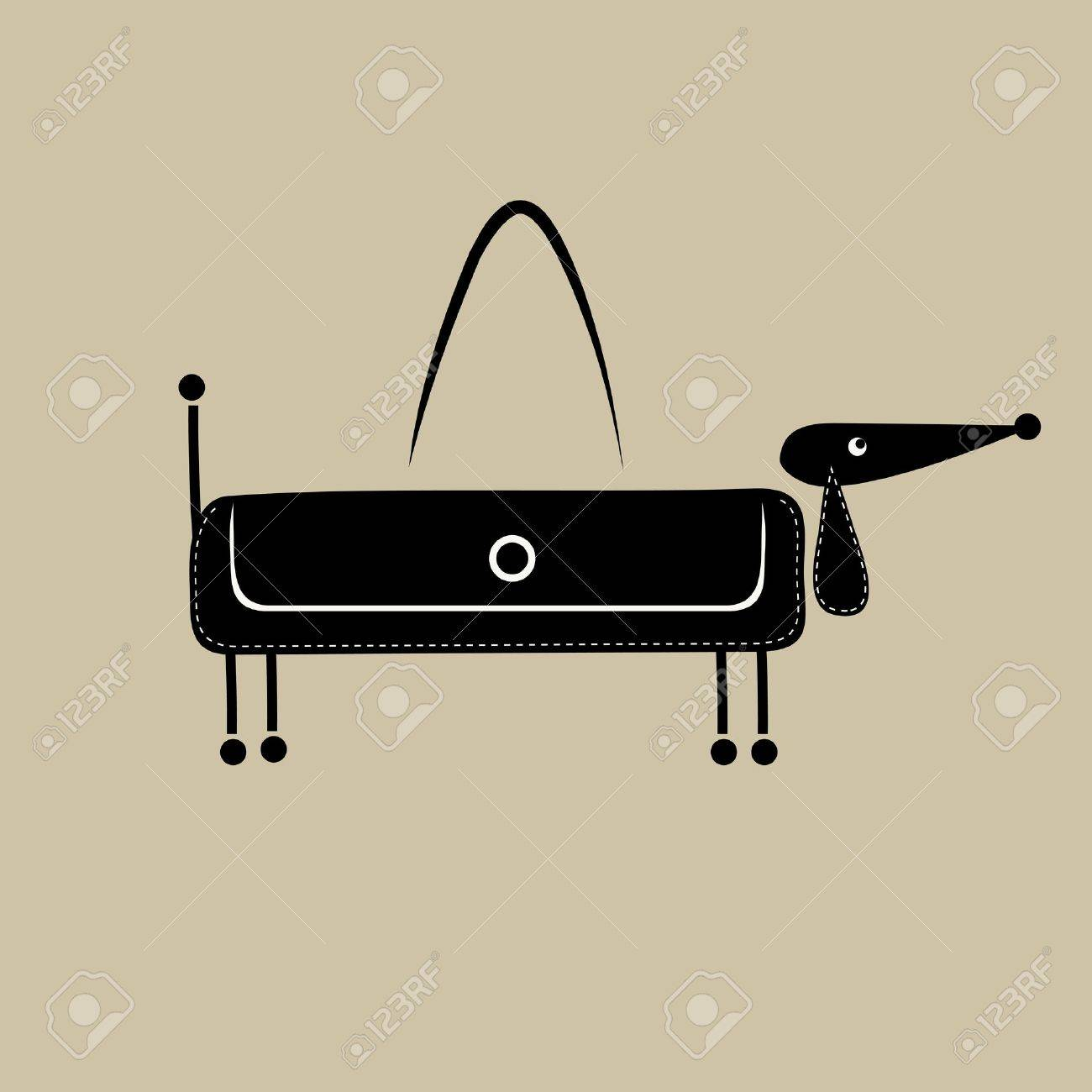 Fashion female bag, funny dog for your design Stock Vector - 10723963