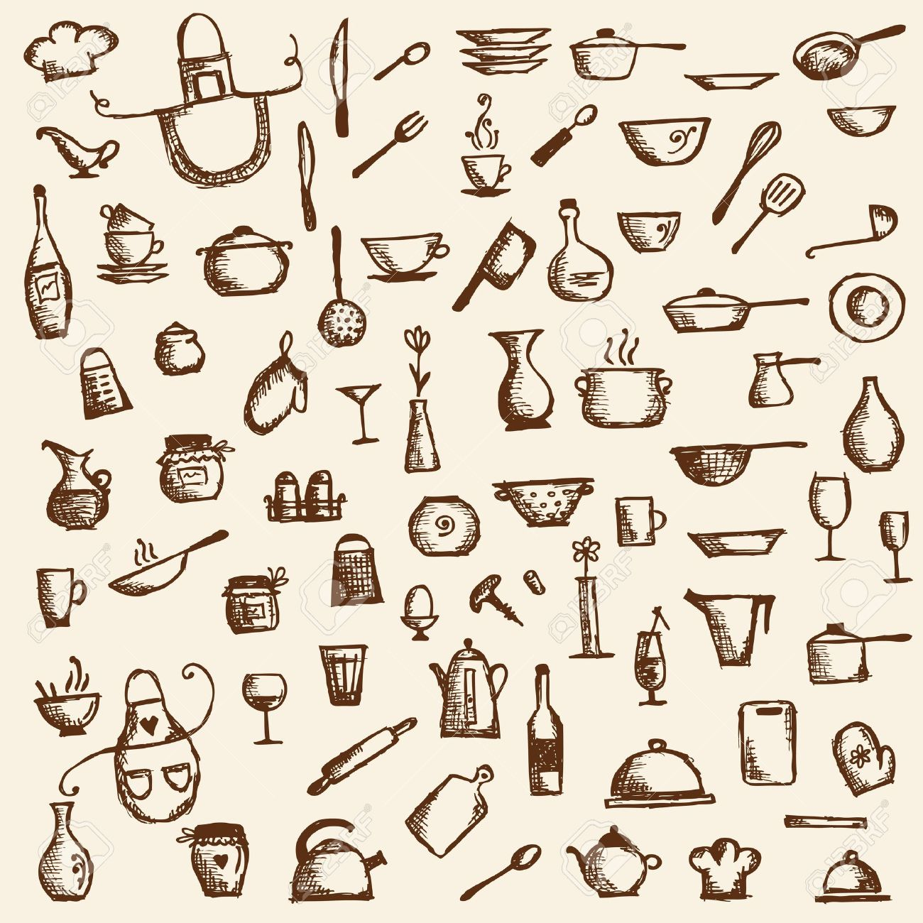 Kitchen Utensils Drawings Kitchen Utensils Sketch