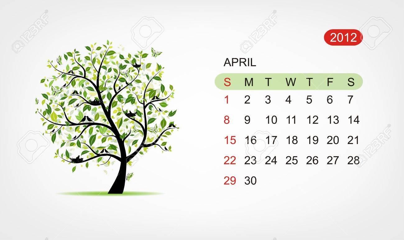 Vector calendar 2012, april. Art tree design Stock Vector - 11009565