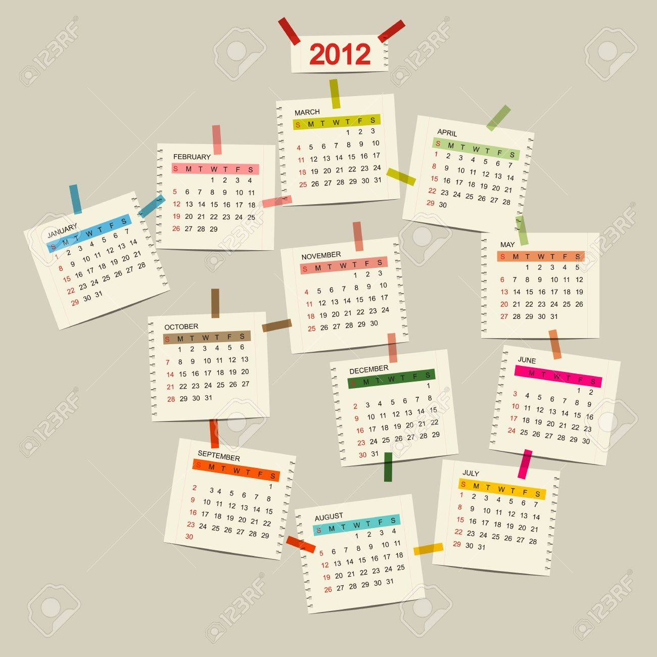 Vector calendar 2012 for your design Stock Vector - 11009526