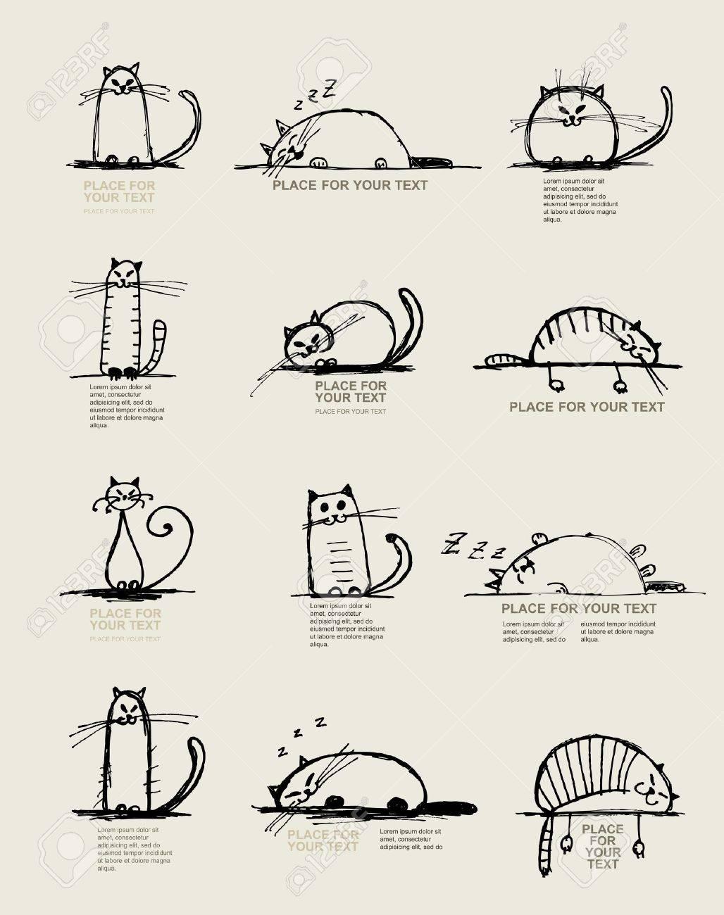 Esbozo de gatos gracioso, diseño con lugar para el texto Foto de archivo - 11009516