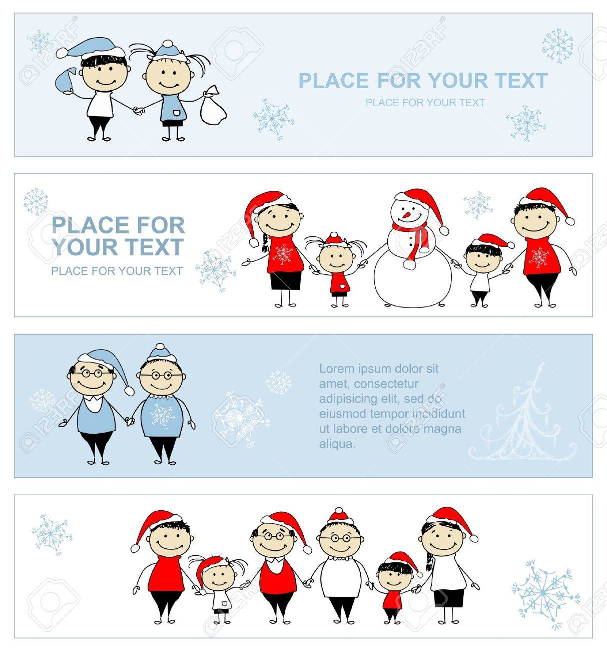 Happy family together, christmas holiday banner for your design Stock Vector - 11009472