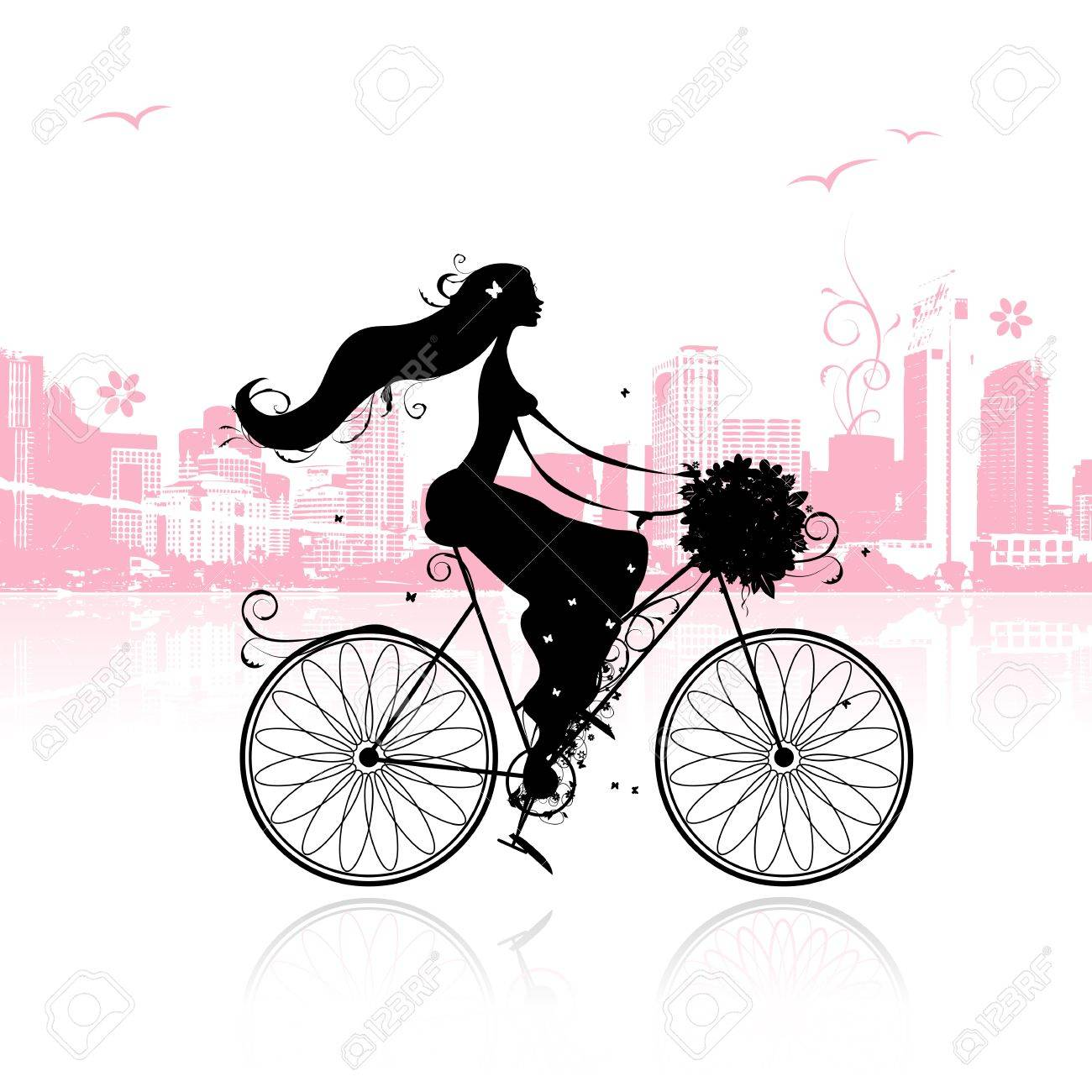 Girl with floral bouquet cycling in the city Stock Vector - 11009569