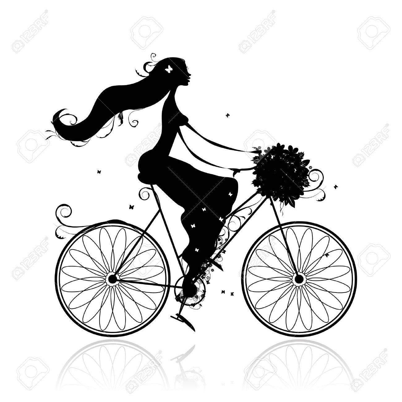 Girl with floral bouquet cycling Stock Vector - 11009517