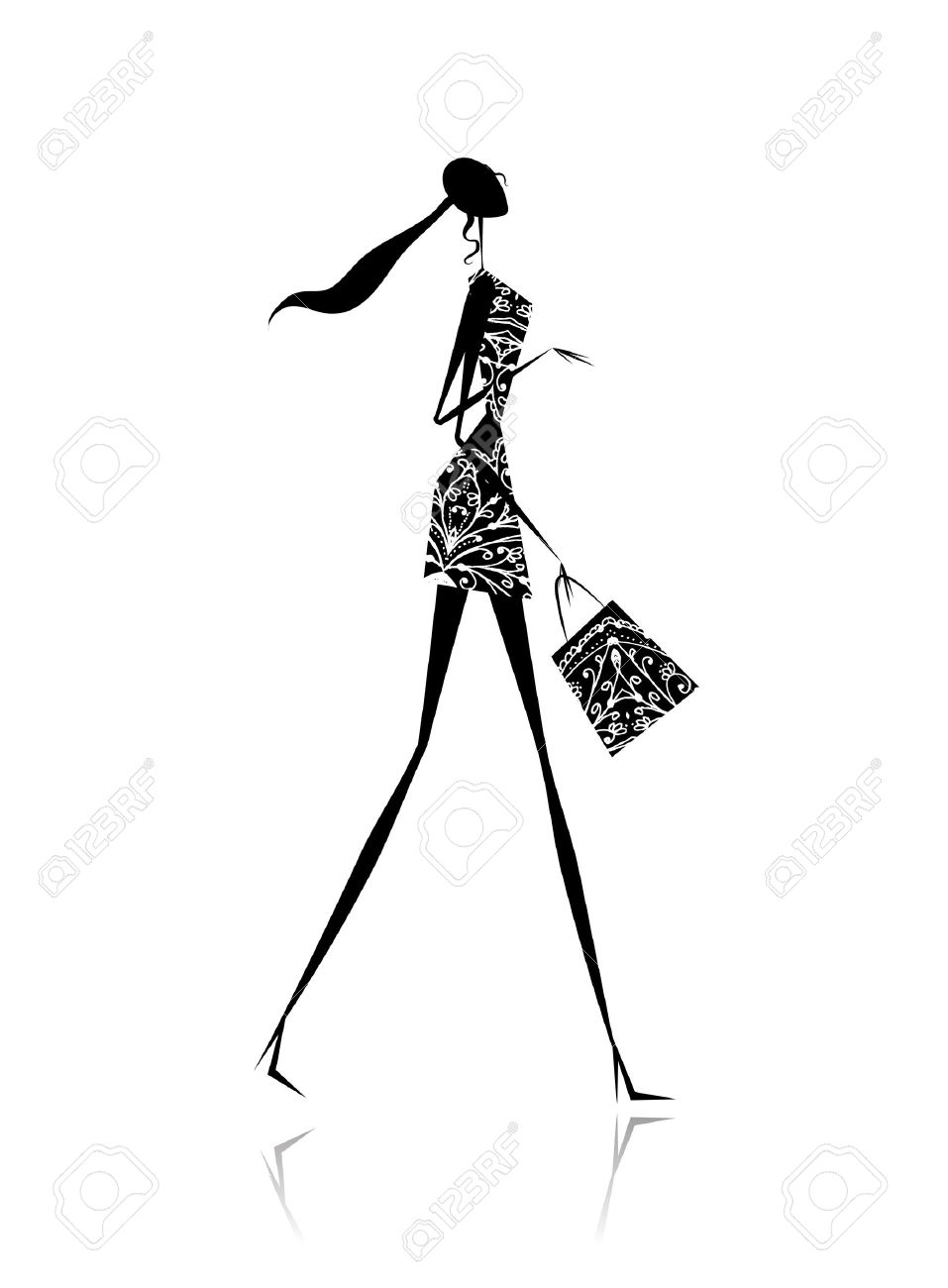 Fashion girl silhouette with shopping bag Stock Vector - 11009430