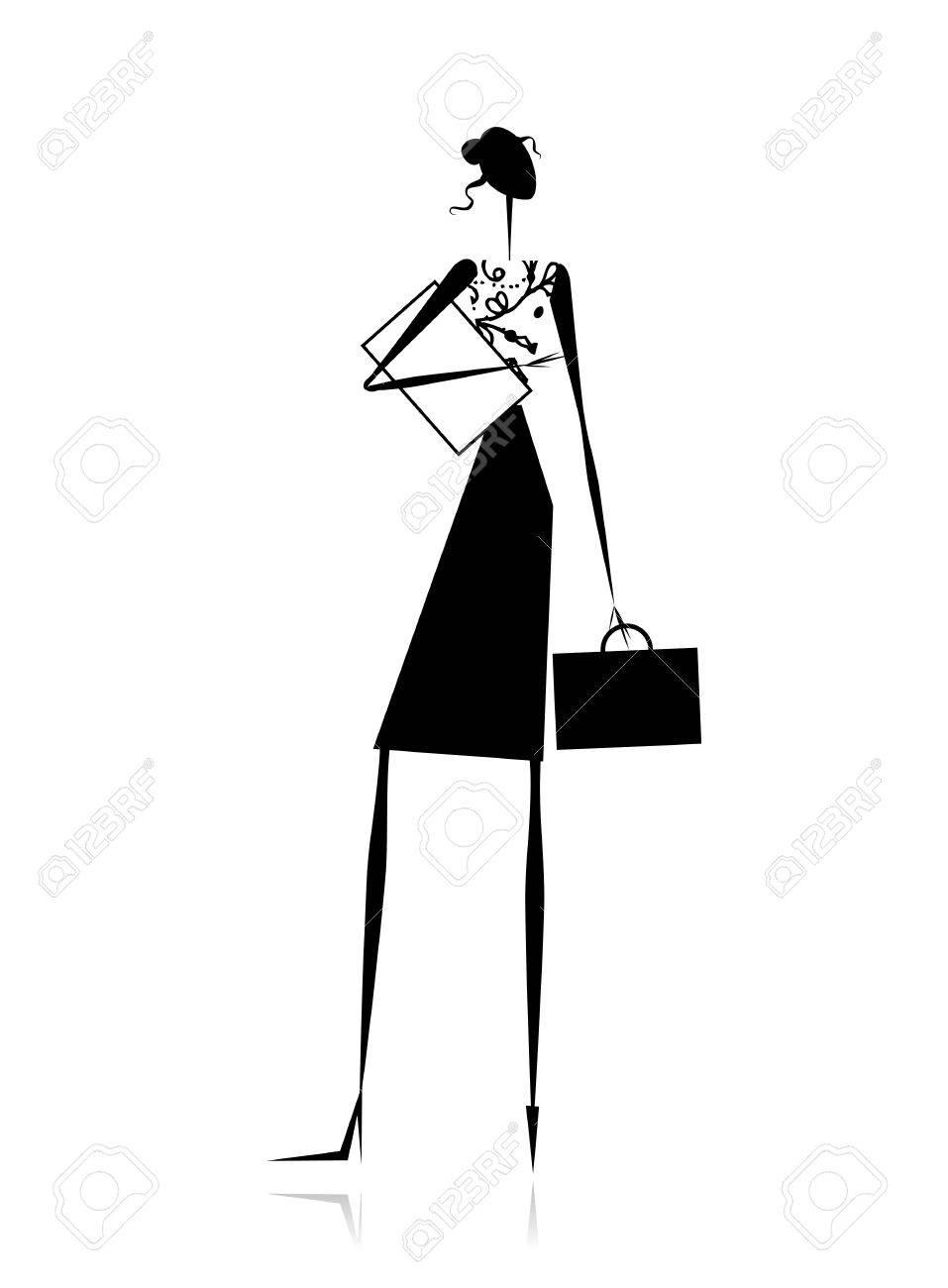 Business lady, silhouette for your design Stock Vector - 11009410