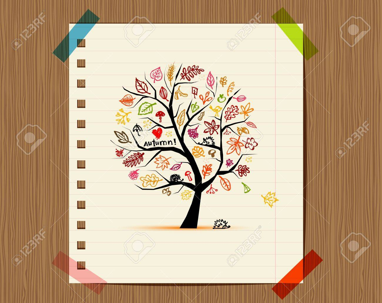 Autumn tree, sketch drawing for your design Stock Vector - 11009534