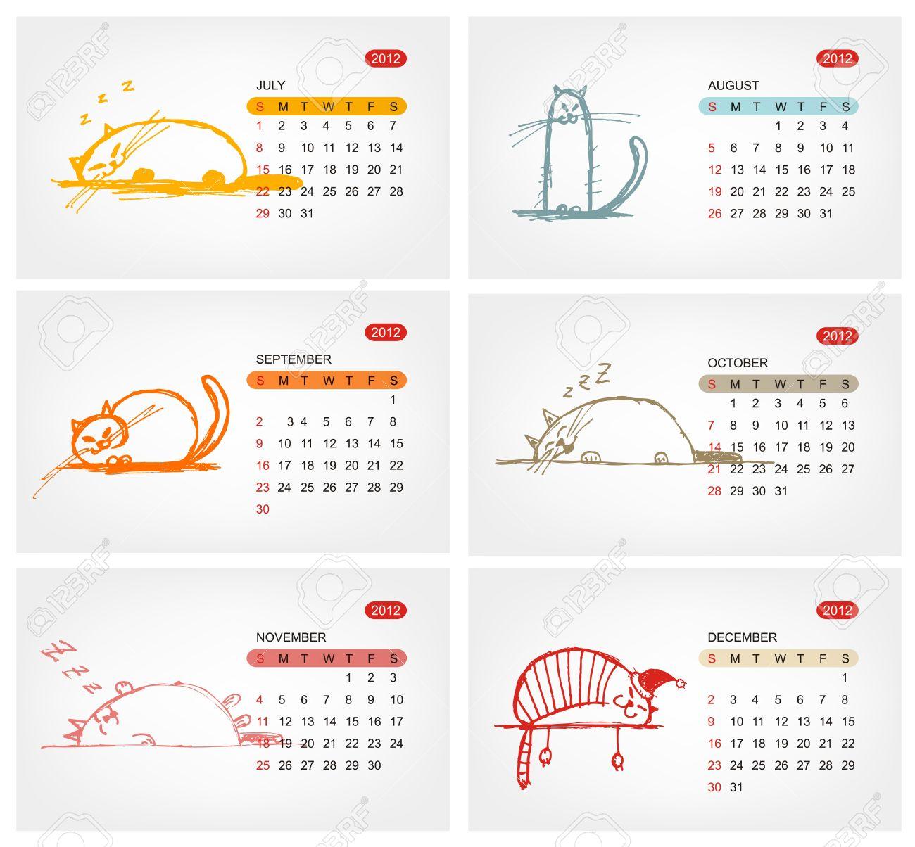 Vector calendar 2012, july. Funny cats design Stock Vector - 11264042
