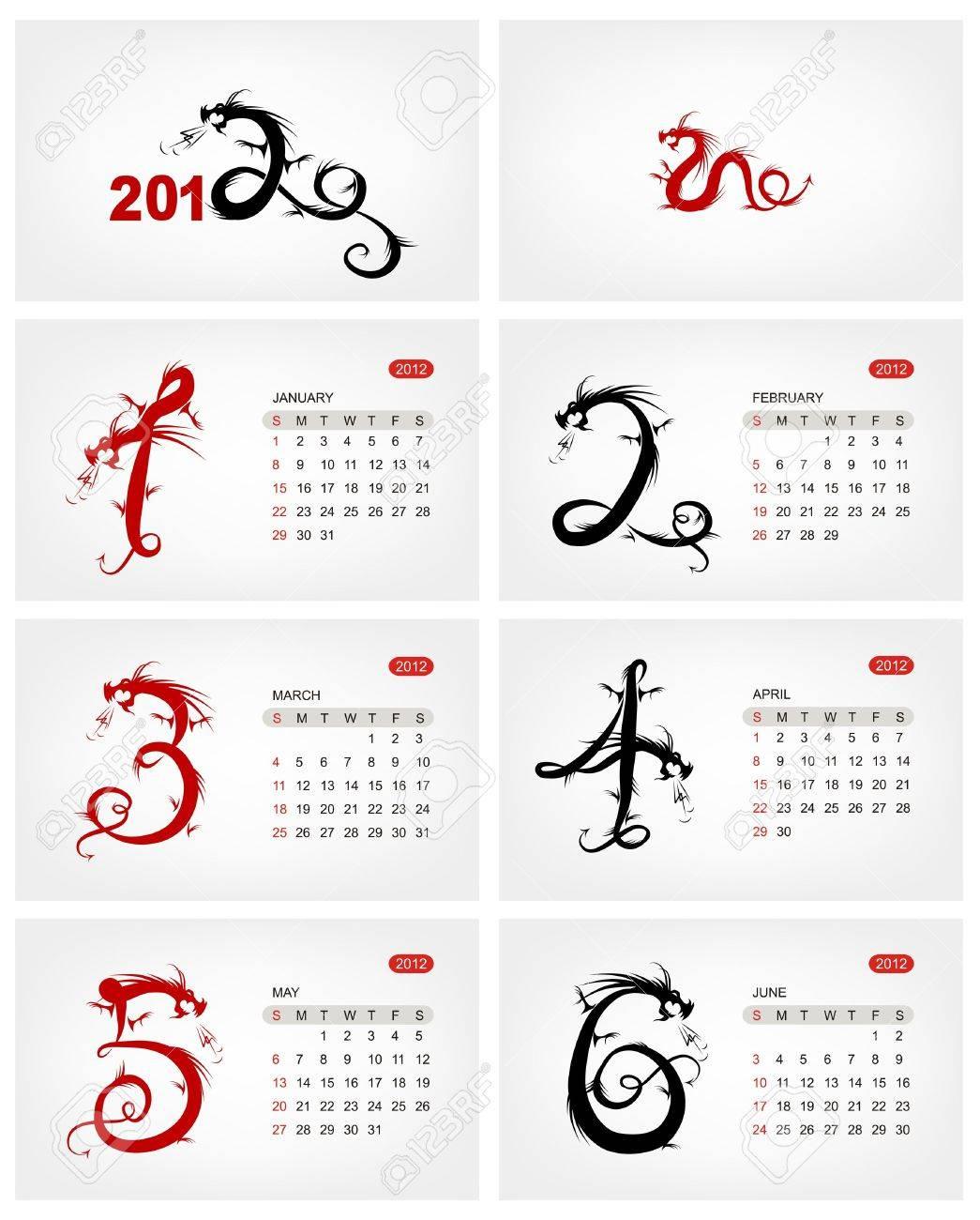 Vector calendar 2012, july. Dragons Stock Vector - 11264043
