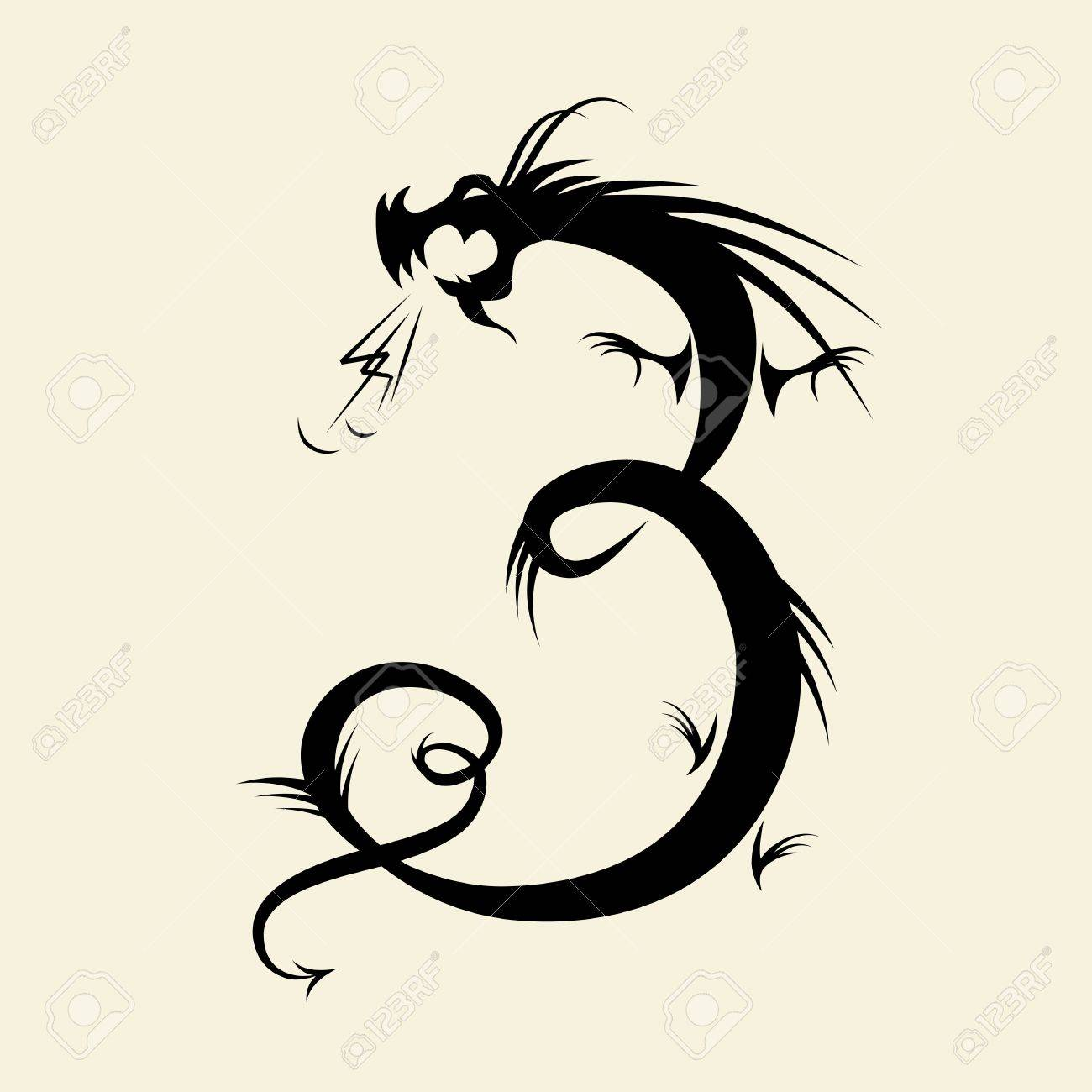 Number three made from dragon Stock Vector - 11263911
