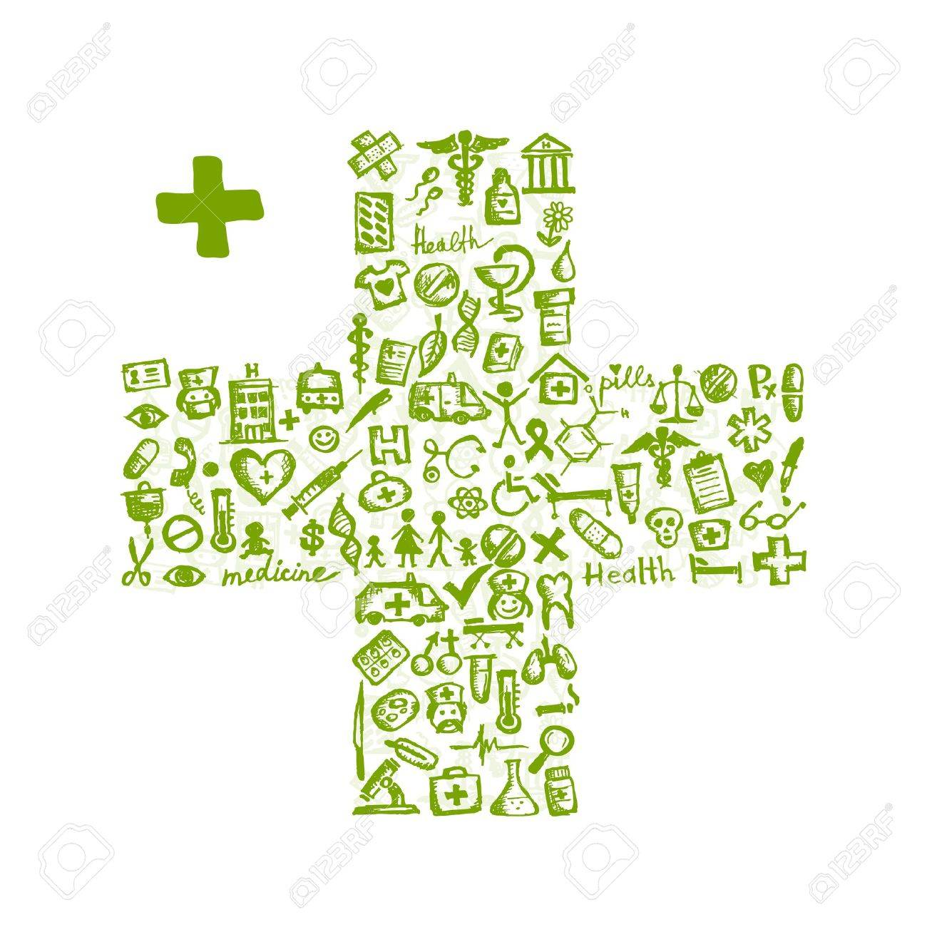Cross shape with medical icons for your design Stock Vector - 11263992