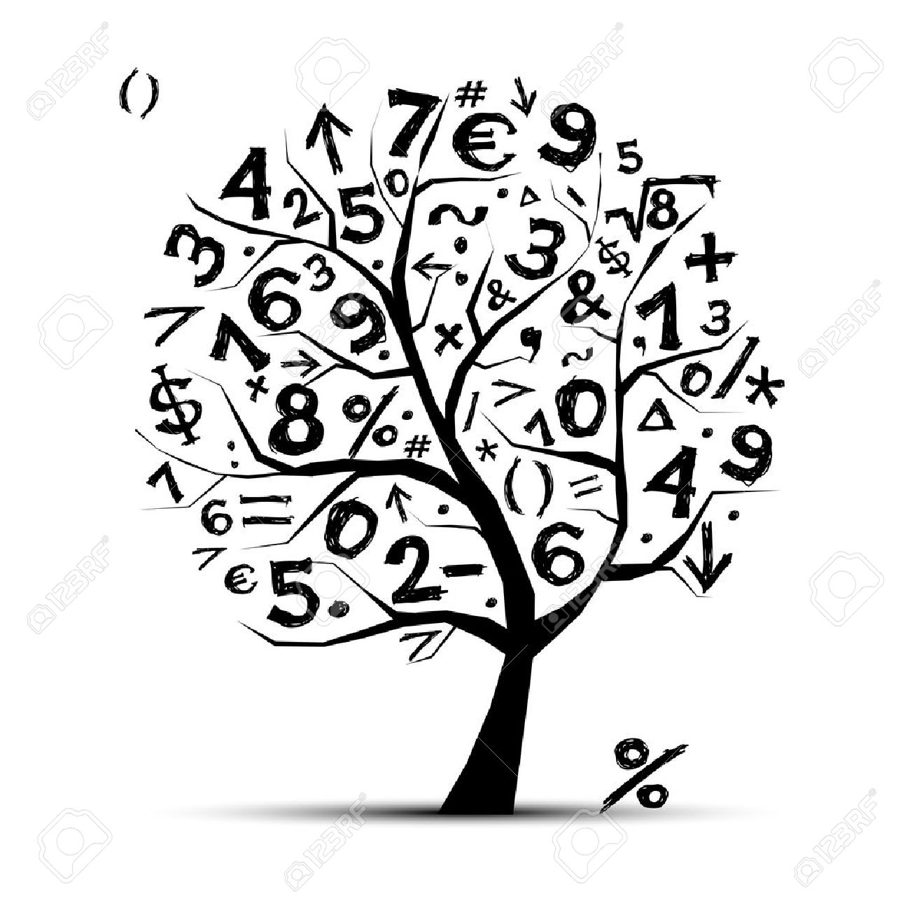 Art tree with math symbols for your design clip art libres de art tree with math symbols for your design banque dimages 11264060 biocorpaavc Gallery