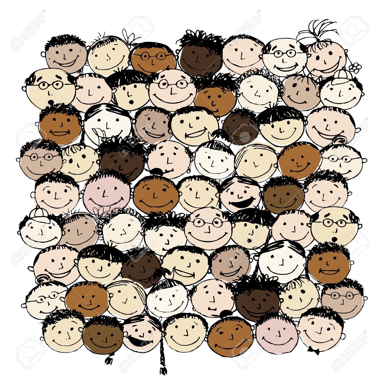 Crowd of funny peoples for your design Stock Vector - 11263944