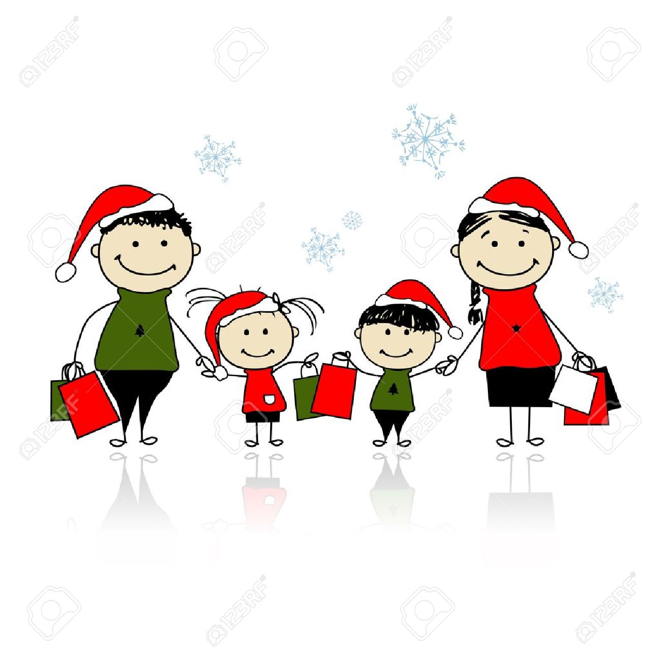Christmas gifts. Family with shopping bags Stock Vector - 11263945