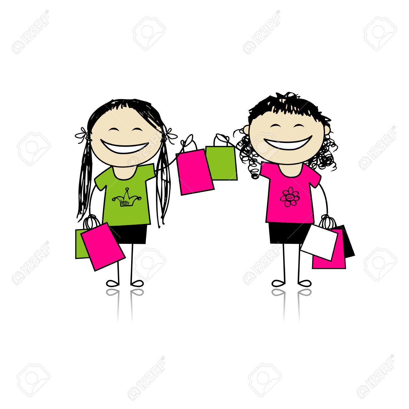 Shopping with friends. Girls with bags for your design Stock Vector - 11264010