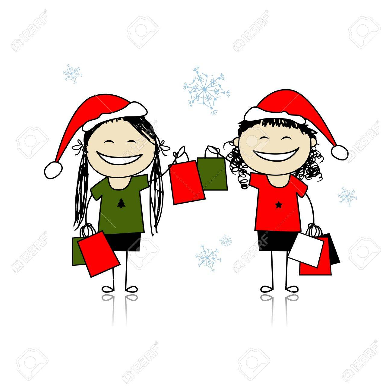 Christmas shopping with friends. Girls with bags for your design Stock Vector - 11263958
