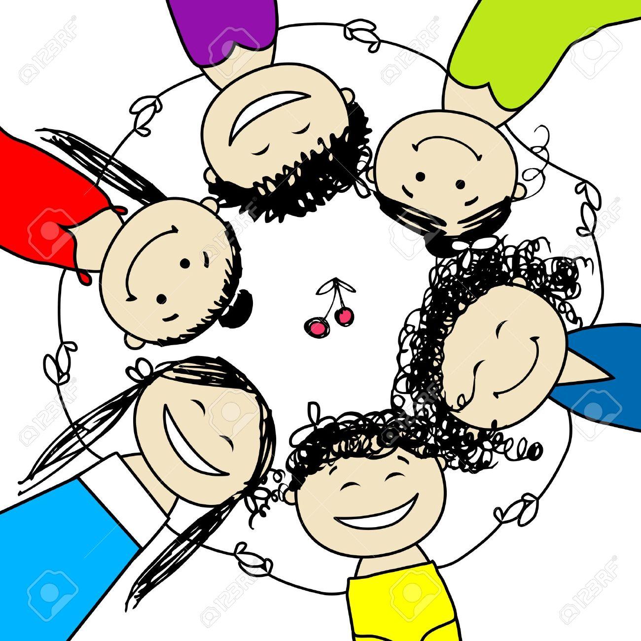 Group Girls Friends Friends Cartoon Group