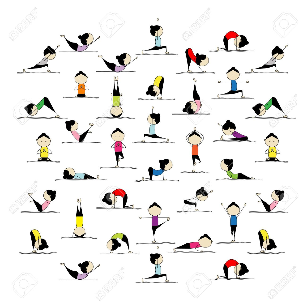 People Practicing Yoga 25 Poses For Your Design Stock Vector