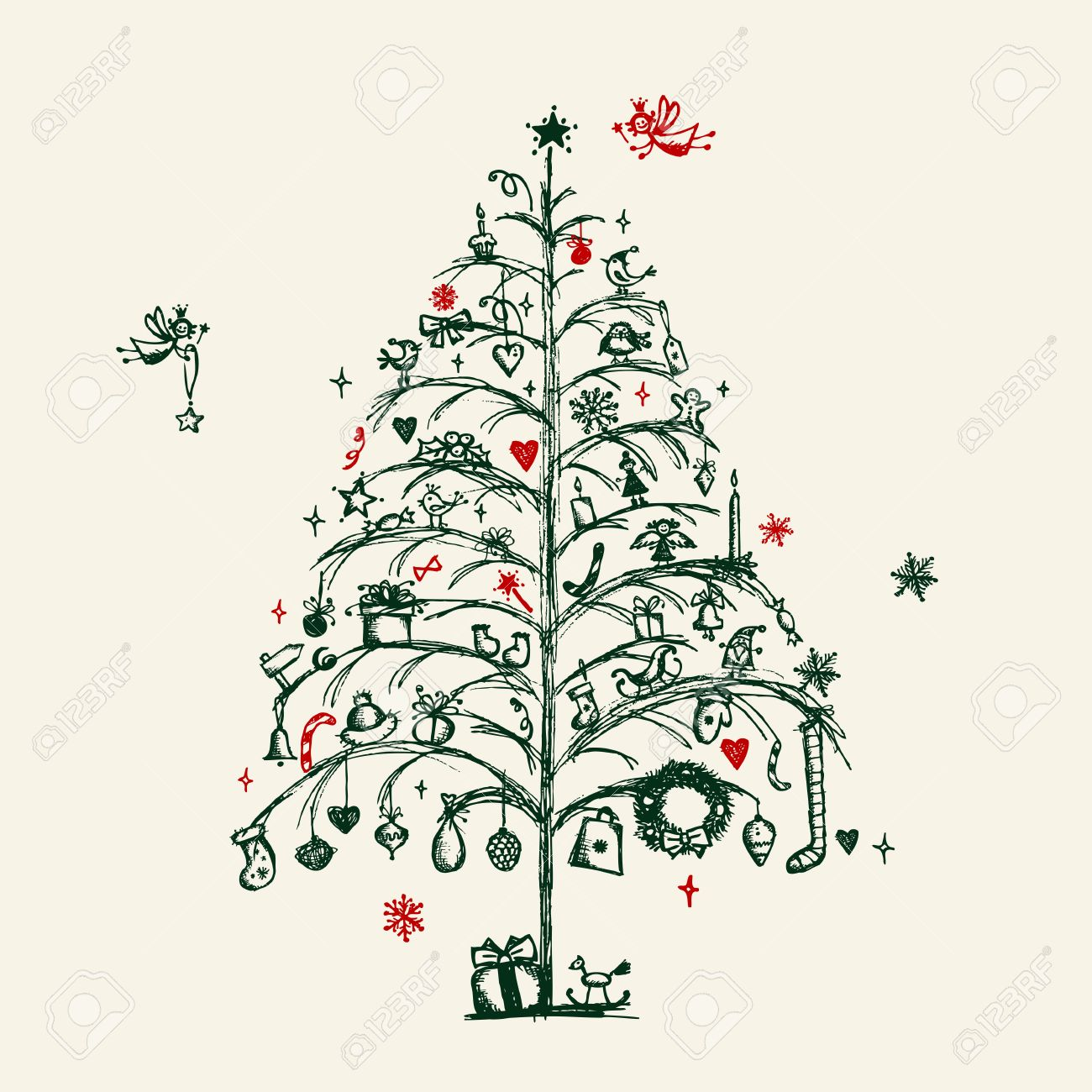 Christmas tree sketch for your design stock vector 11476188
