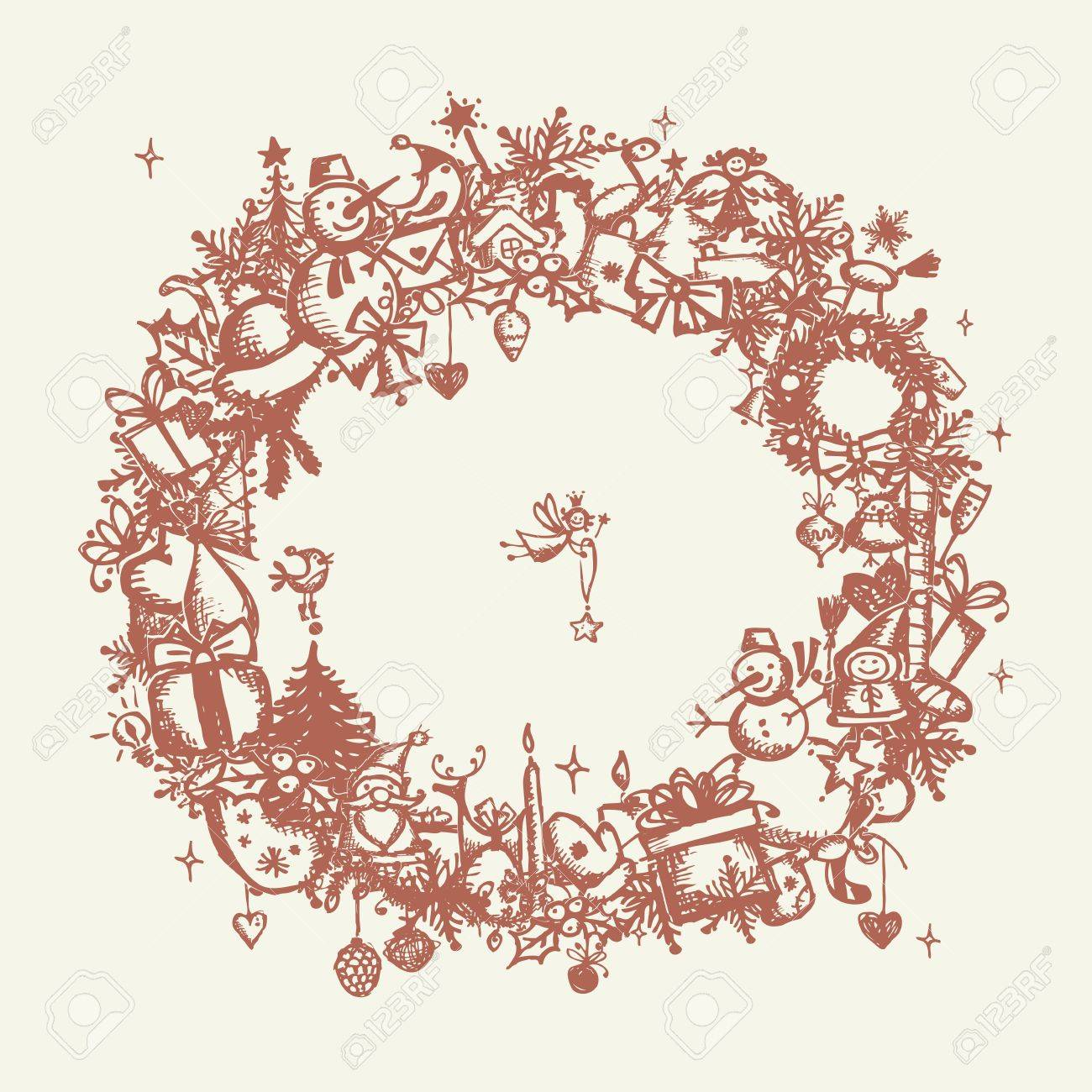 Christmas frame, sketch drawing for your design Stock Vector - 11476249