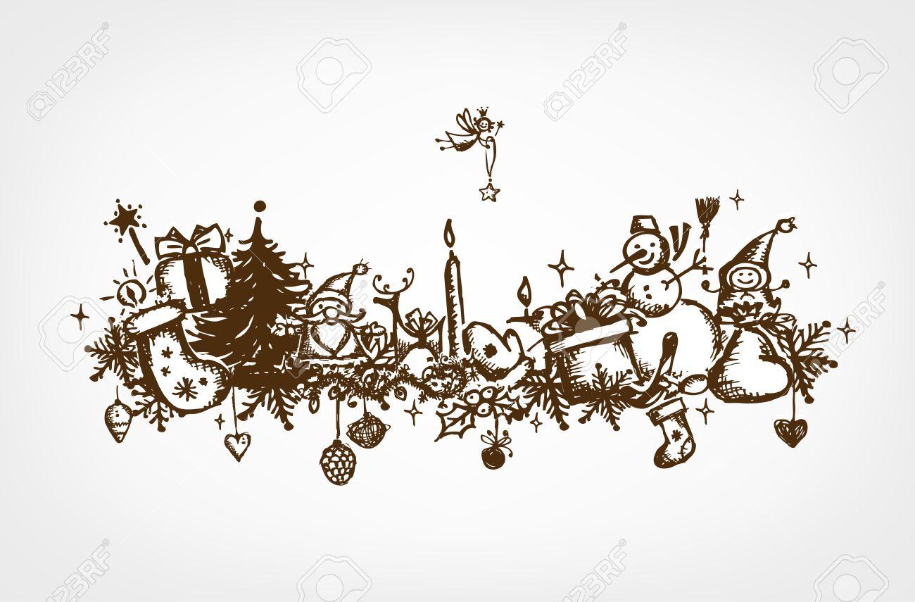Weihnachten Rahmen, Skizze, Zeichnung Für Ihre Konstruktion ...