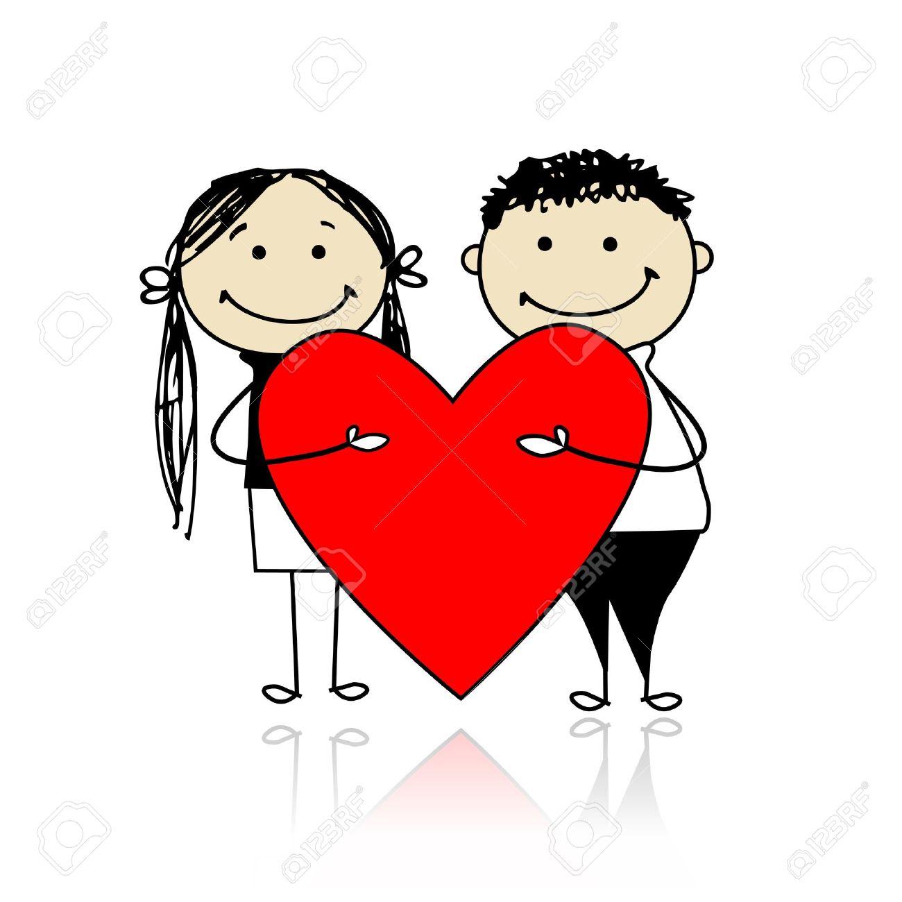バレンタインの日。カップルは、設計のための大きな赤いハート