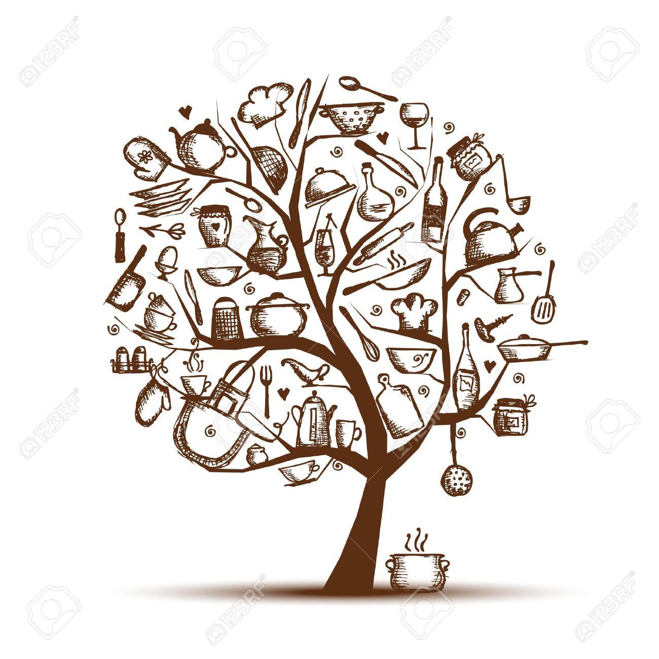 Art Baum Mit Kuchenutensilien Skizze Zeichnung Fur Ihre Konstruktion Lizenzfrei Nutzbare Vektorgrafiken Clip Arts Illustrationen Image 12015189