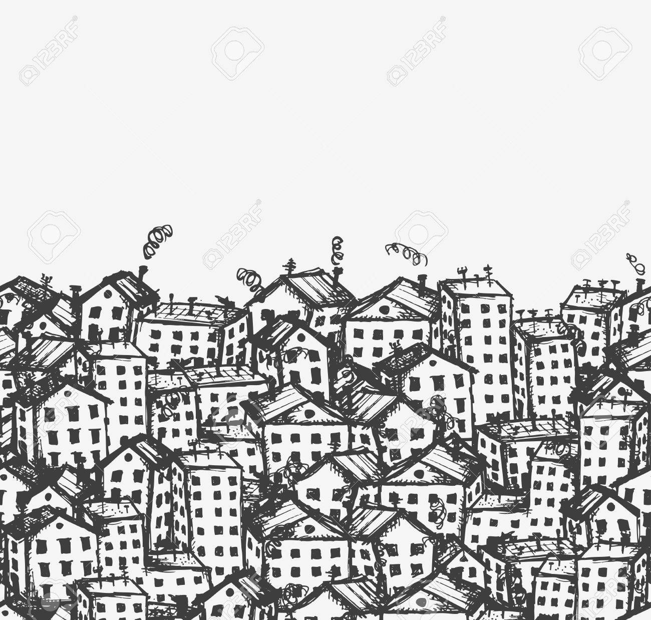 City sketch, seamless background for your design Stock Vector - 12397328