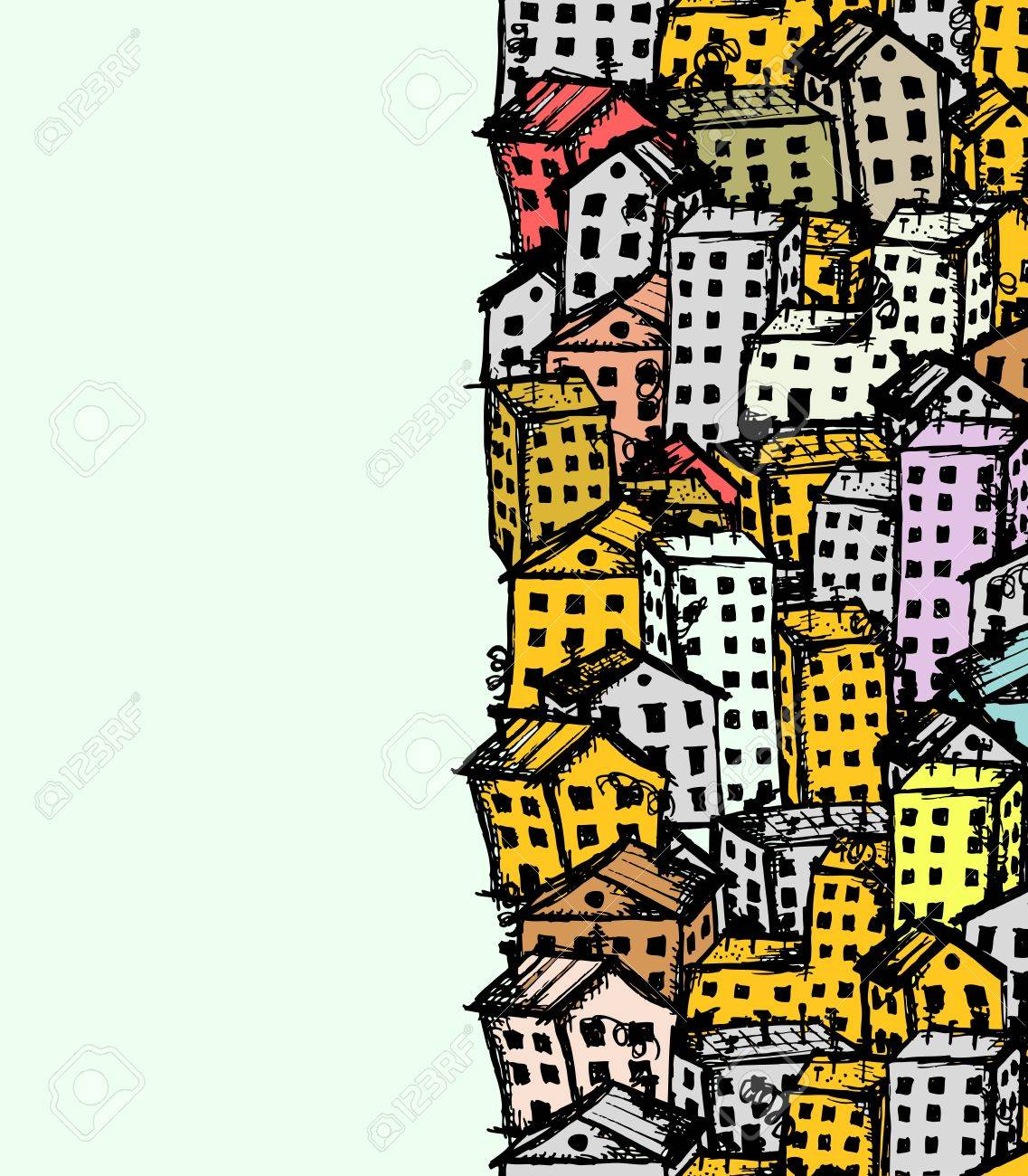 City sketch, seamless background for your design Stock Vector - 12397302
