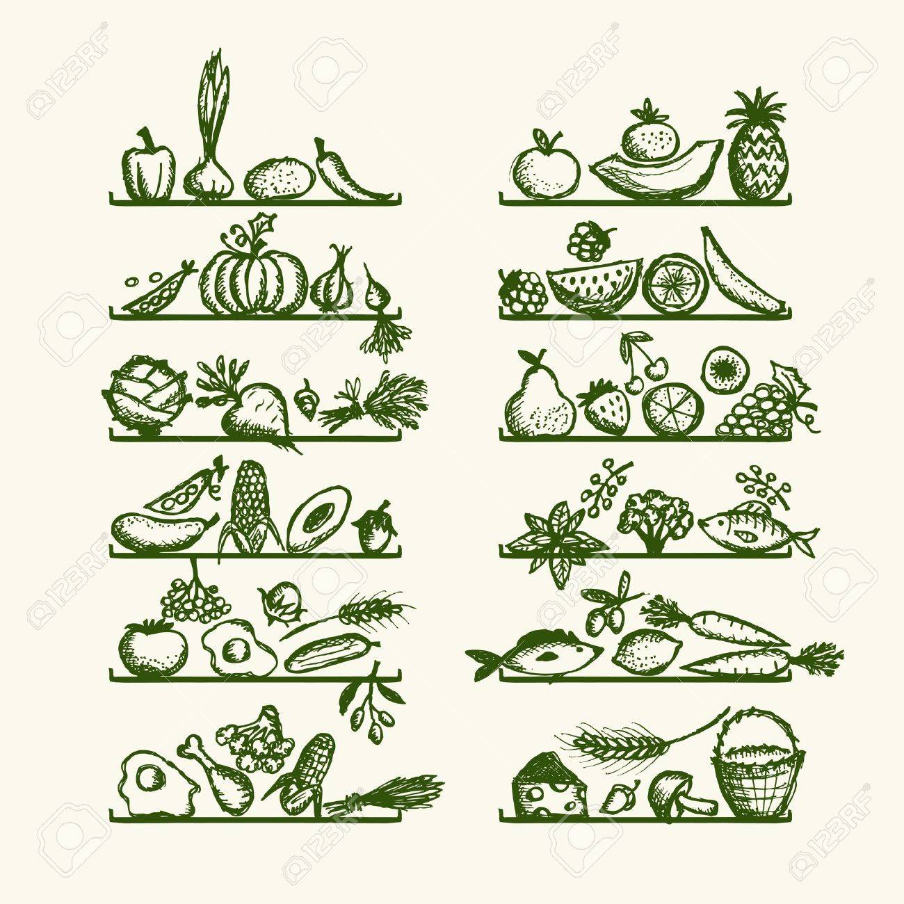 Healthy food on shelves, sketch for your design Stock Vector - 12758765
