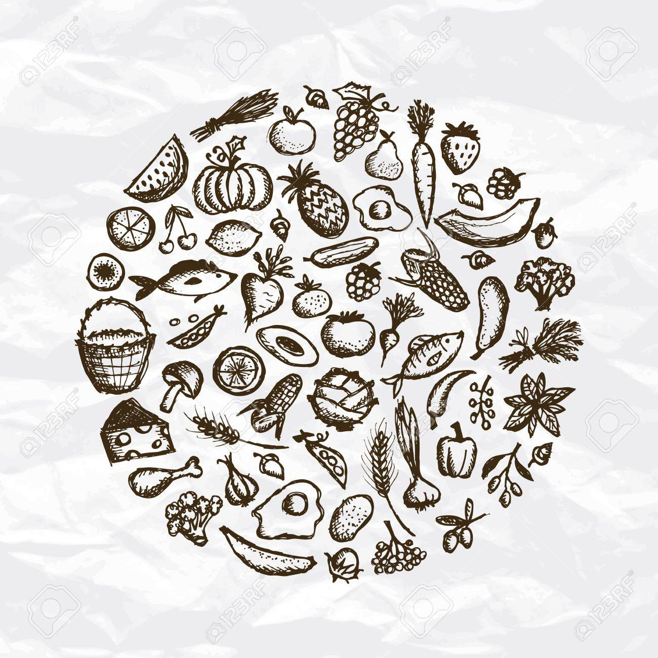 Healthy food background, sketch for your design Stock Vector - 12758972