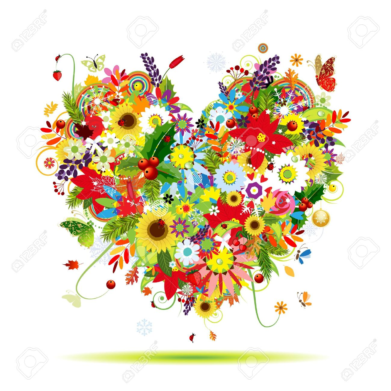 Four seasons  Art heart shape for your design Stock Vector - 12840585