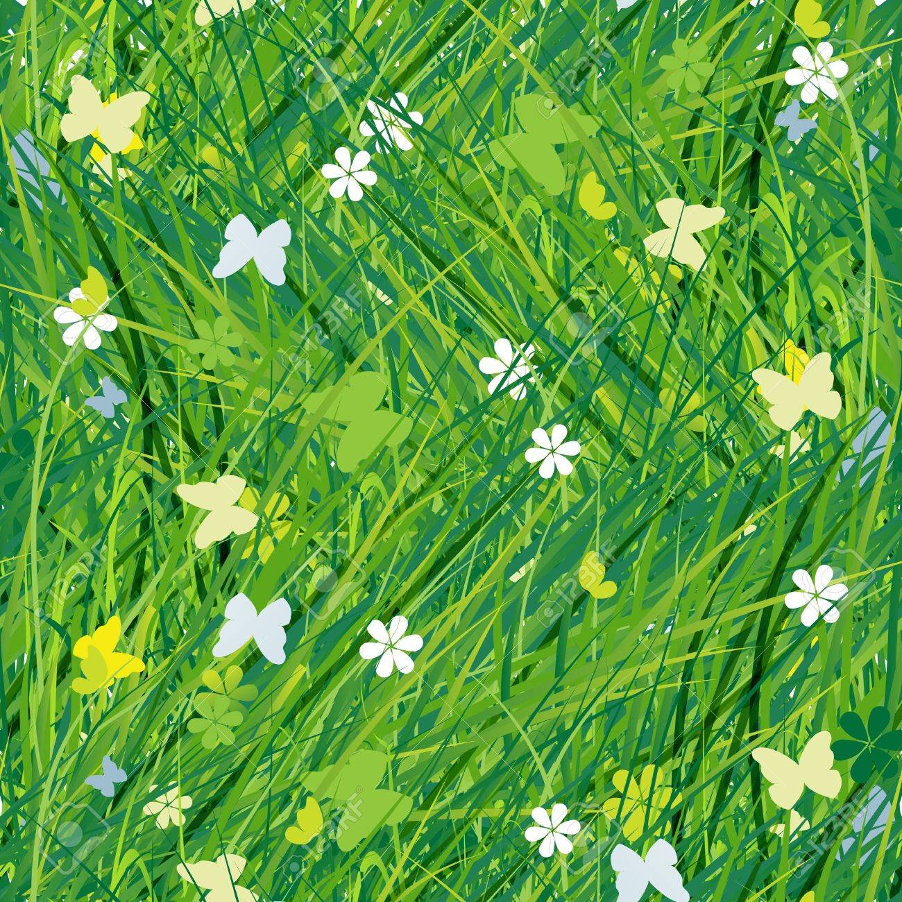 Green meadow, seamless pattern for your design Stock Vector - 12840590