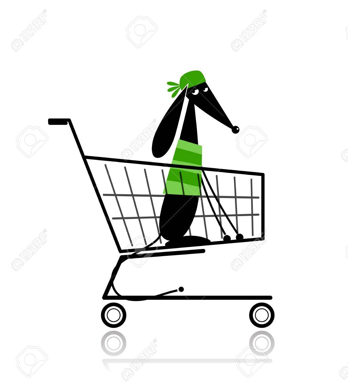 Cute dog  in shopping cart for your design Stock Vector - 12840550
