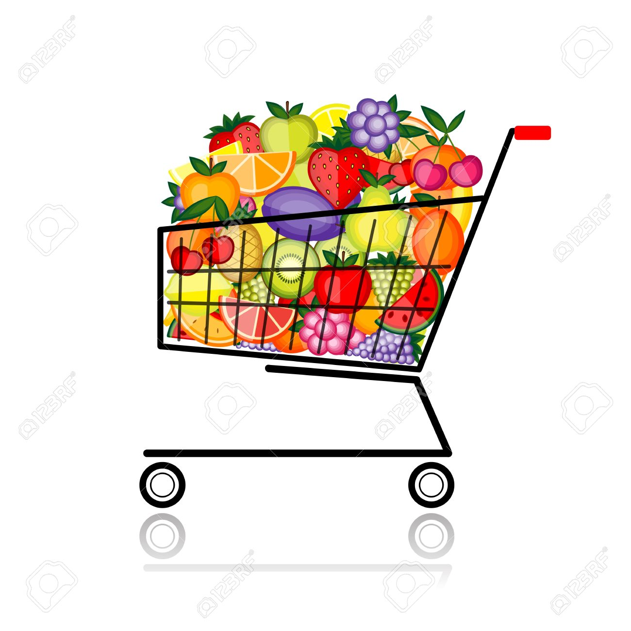Full Grocery Cart Clipart Fruits in shopping cart for