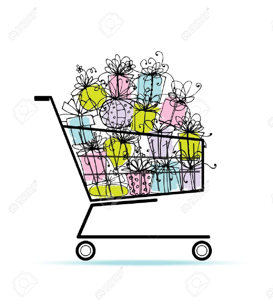 Gift boxes in shopping cart for your design Stock Vector - 12840566
